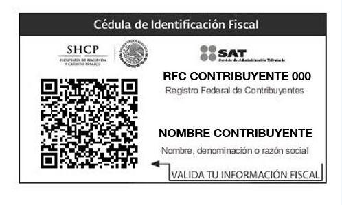 Cédula de identificación fiscal SAT 1